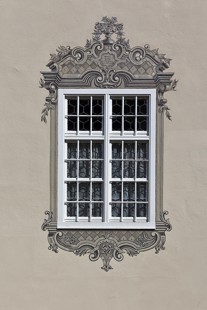 Window in the historic town centre, Mindelheim, Swabia, Unterallgaeu district, Bavaria, Germany, Europe