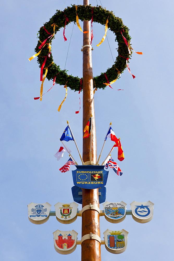 May pole at the Marienkapelle chapel, market place, Wuerzburg, Bavaria, Germany, Europe