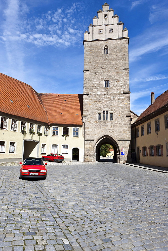 Rothenburger Tor gate, Dinkelsbuehl, administrative district of Ansbach, Middle Franconia, Bavaria, Germany, Europe