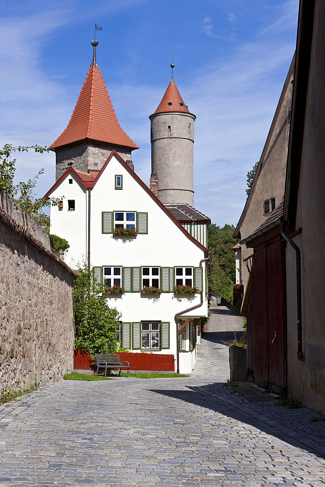 Gruener Turm tower, Faulturm tower, Dinkelsbuehl, administrative district of Ansbach, Middle Franconia, Bavaria, Germany, Europe