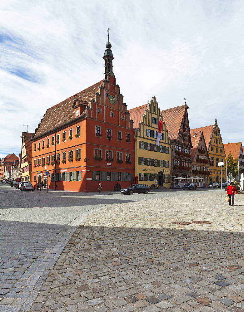 Weinmarkt square and the Gustav-Adolf-Haus building, Turmgasse street, historic district of Dinkelsbuehl, administrative district of Ansbach, Middle Franconia, Bavaria, Germany, Europe
