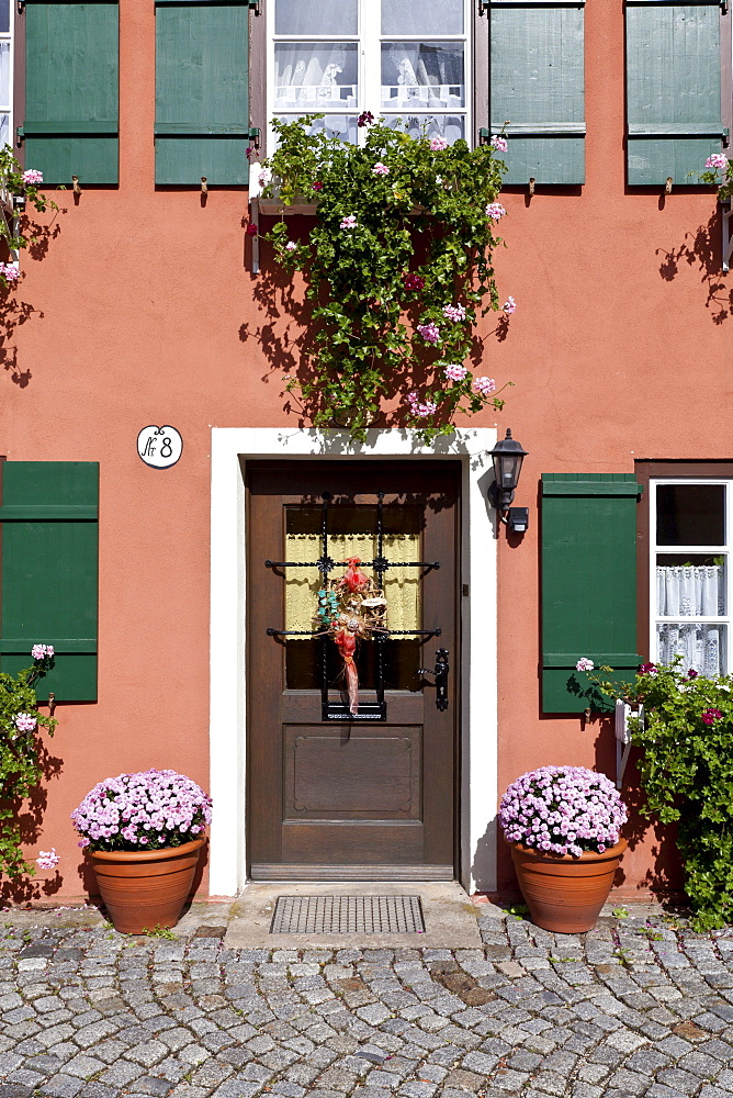 House entrance with flowers, Dinkelsbuehl, Ansbach, Middle Franconia, Bavaria, Germany, Europe