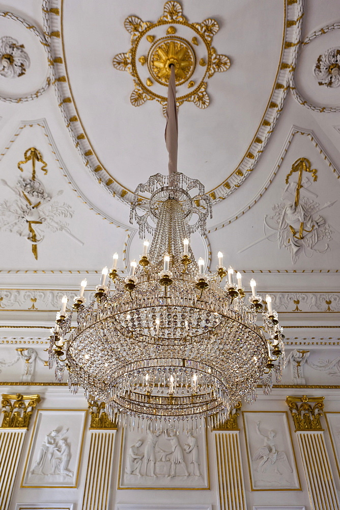 Chandelier, Schloss Fantaisie Palace, Bayreuth, Upper Franconia, Bavaria, Germany, Europe