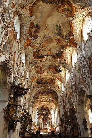 Aisle with ceiling frescoes by Matthaeus Guenther in the Parish Church of the Nativity of the Virgin, Rococo style 1737-1746, Rottenbuch Abbey, Rottenbuch, Upper Bavaria, Germany, Europe