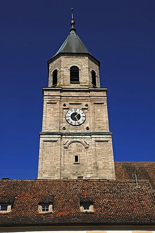 Tower of the Parish Church of St. Salvator and the Holy Cross, 1761-1766 restoration in the Rococo style, Kirchplatz 5, Polling, Upper Bavaria, Germany, Europe
