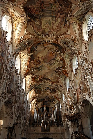 Nave with ceiling frescoes by Matthaeus Guenther, Parish Church of the Nativity of the Virgin, Rococo style 1737-1746, Rottenbuch Abbey, Rottenbuch, Upper Bavaria, Germany, Europe