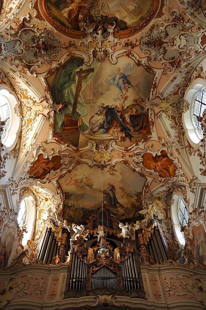 Organ, built by Balthasar Freiwiss from Aitrang, and ceiling frescoes by Matthaeus Guenther, Parish Church of the Nativity of the Virgin, Rococo style 1737-1746, Rottenbuch Abbey, Rottenbuch, Upper Bavaria, Germany, Europe