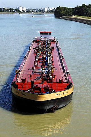 Inland waterway transport, oil tanker floating in front of the Marckolsheim watergate on the Rhine river, Alsace region, France, Europe