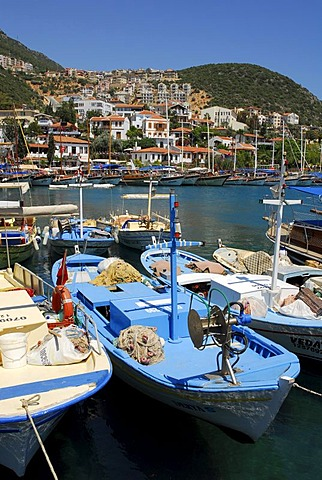 Fishing boats in the port of Kas, Lycian coast, Antalya Province, Mediterranean, Turkey, Eurasia