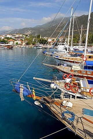 Sailing ships, boats in the port of Kas, Lycian coast, Antalya Province, Mediterranean, Turkey, Eurasia