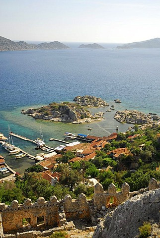 Medieval castle at the village of Kale, Kalekoey or Simena, overlooking Kekova bay, Lycian coast, Antalya Province, Mediterranean, Turkey, Eurasia