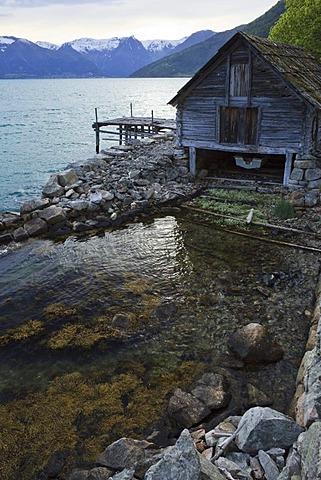 Fisherman's hut on Sognefjord fjord, Norway, Scandinavia, Europe