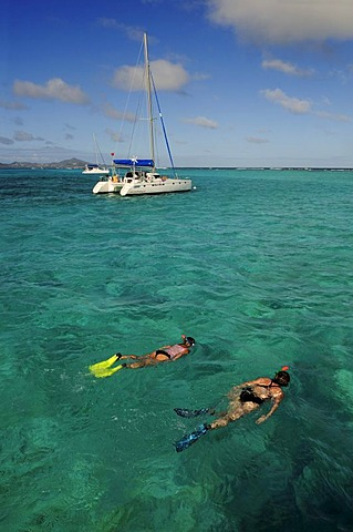Snorkelling in front of a sailboat on a sailing trip, Tobago Cays, Saint Vincent, Caribbean