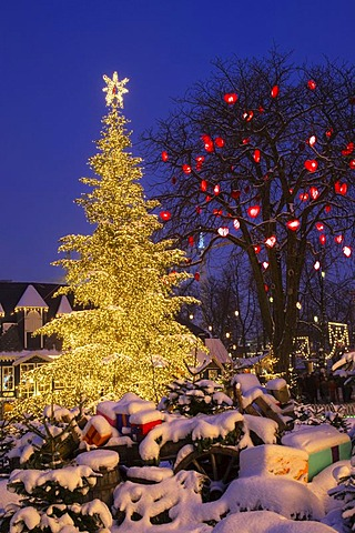 The Christmas tree in Tivoli, Copenhagen, Denmark, Europe