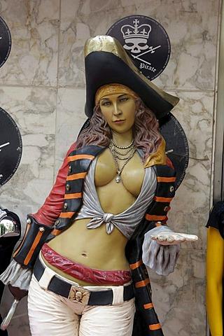 Pirate woman, figure, Eivissa, Ibiza Town, Ibiza, Pityuses, Balearic Islands, Spain, Europe
