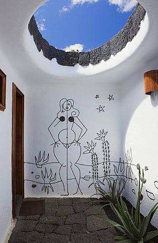 Entrance to the women's toilet in the cactus garden, Jardin de Cactus, built by the artist Cesar Manrique, Guatiza, Lanzarote, Canary Islands, Spain, Europe
