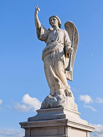 Angel sculpture in the cemetery of Fleurie, Beaujolais, France, Europe