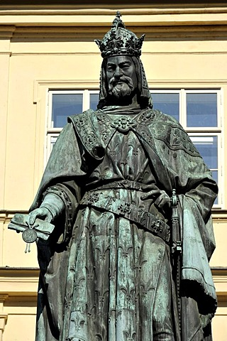 Bronze statue, monument of Emperor Charles IV on the Old Town bridge tower, Charles Bridge, Prague, Bohemia, Czech Republic, Europe