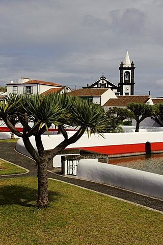 Igreja Matriz church and water storage pools in Santa Cruz on the island of Graciosa, Azores, Portugal