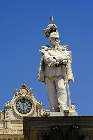 Statue of King Vittorio Emanuele II, Piazza d'Italia, Sassari, Sassari Province, Northern Sardinia, Italy, Europe