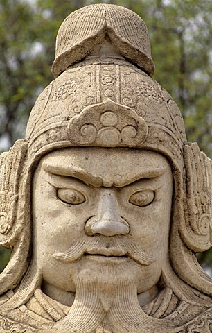 Warrior, sculpture along the Spirit Way, Ming Tombs, UNESCO World Cultural Heritage Site, Peking, China Asia