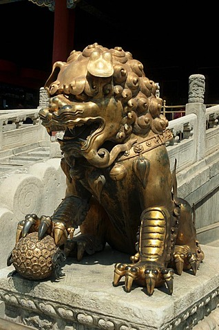 Lion sculpture in front of the Heavenly Purity Gate, also called Qianqingmen, Chinese imperial palace, UNESCO world heritage site, Beijing, China, Asia