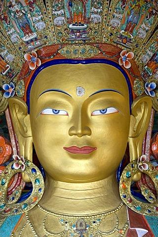 Tibetan Buddhism, Buddha Maitreya, Buddha of the future, portrait, Buddha statue, Thiksey Gompa Monastery, Thikse, Tikse, Ladakh region, Jammu and Kashmir, India, South Asia