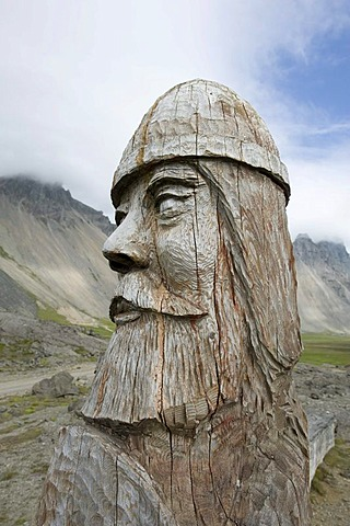 Viking carved out of wood, bust, Stokksnes, Iceland, Scandinavia, Northern Europe