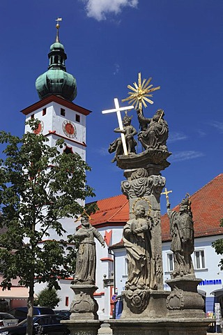 City centre and Parish Church of the Assumption in Tirschenreuth, Upper Palatinate, Bavaria, Germany, Europe