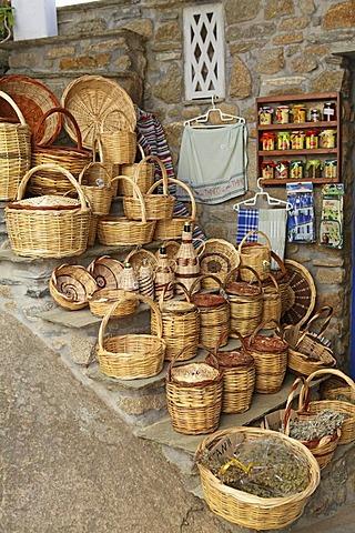 Baskets, gift shop in the Volas mountain village, Tinos island, Cyclades, Aegean Sea, Greece, Europe