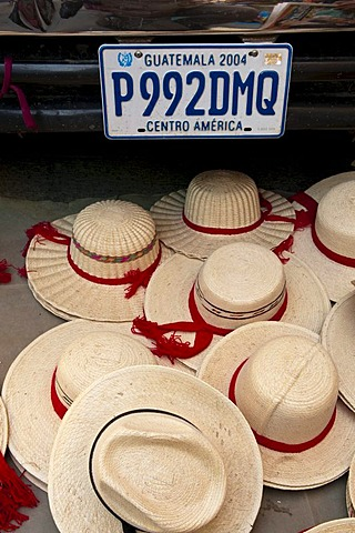 Straw hats, market, Totonicapan, Guatemala, Central America