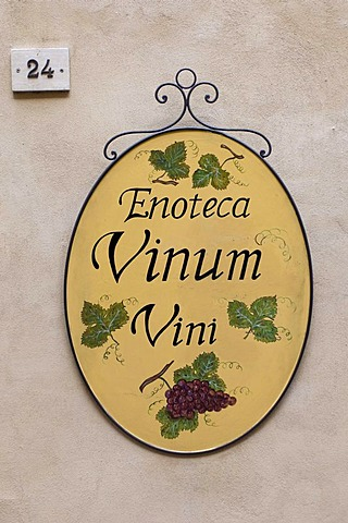 Enoteca Vinum, sign, Montepulciano, Val d'Orcia, Siena province, Tuscany, Italy, Europe