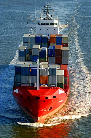 Containership on Kiel Canal, Schleswig-Holstein, Germany, Europe