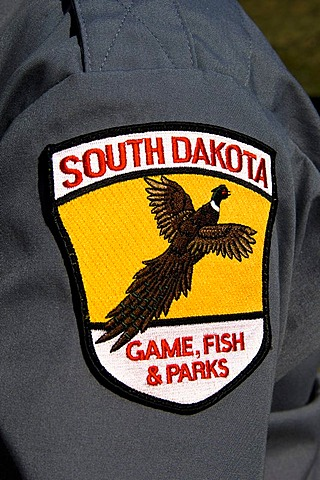 South Dakota game, fish and parks, badge, Custer State Park, Black Hills, South Dakota, USA