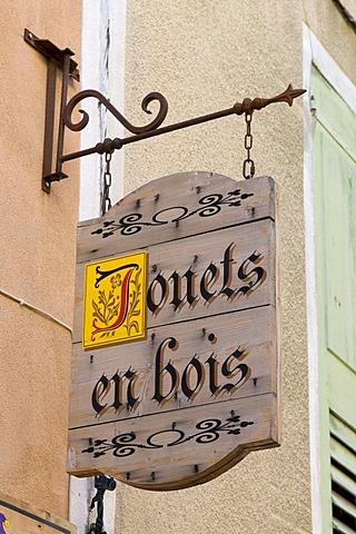 Toys shop sign, Moustiers-Sainte-Marie, Provence, France, Europe