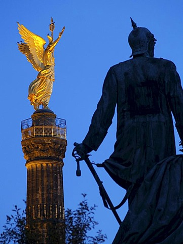 Berlin Victory Column and statue of Bismarck, Berlin, Germany, Europe