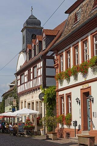 Cafe Restaurant Rathaus next to the Town Hall, Freinsheim, German Wine Route, Pfalz, Rhineland-Palatinate, Germany, Europe