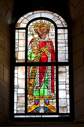 Stained glass window in the Cathedral of Our Lady, one of the world's oldest figurative stained glass windows, mid 11th Century, prophets window, King David, Augsburg Cathedral, Augsburg, Bavaria, Germany, Europe