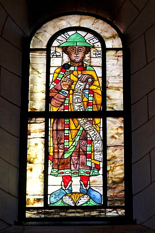 Stained glass window in the Cathedral of Our Lady, one of the world's oldest figurative stained glass windows, mid 11th Century, prophets window, Prophet Daniel, Augsburg Cathedral, Augsburg, Bavaria, Germany, Europe
