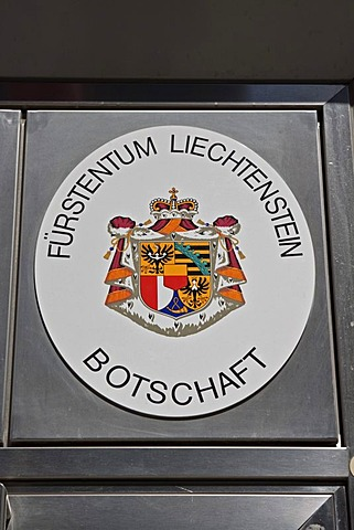 "Sign ""Botschaft Fuerstentum Liechtenstein"", German for ""embassy of the Principality of Liechtenstein"", Berlin, Germany, Europe"