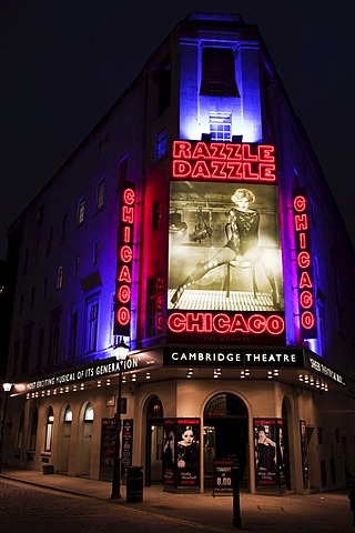 "Musical ""Chicago"", Cambridge Theatre at Night, London, England, United Kingdom, Europe"