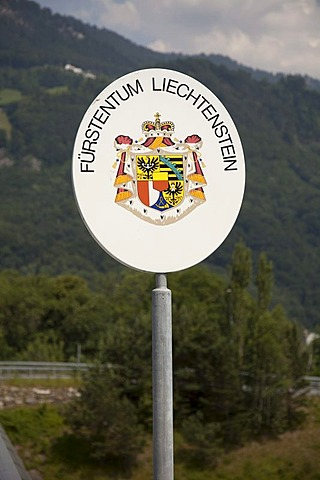 Border sign of the Principality of Liechtenstein in Vaduz, Principality of Liechtenstein, Europe