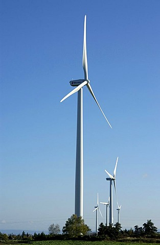 Wind turbines of the Ally Mercoeur windfarm, Departement Haute-Loire, France, Europe