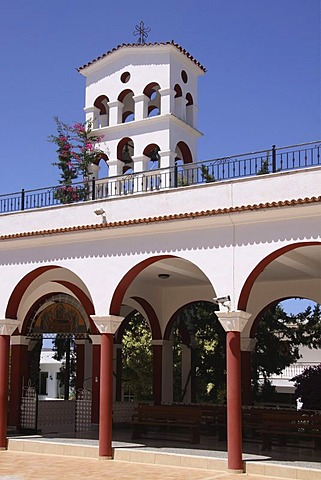Bell tower, Moni Kalivianis Abbey, orphanage, old people's home and girls' boarding school, Crete, Greece, Europe