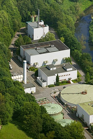 Aerial view, internal wastewater treatment plant of the Bayer Schering Pharma AG on Rutenbecker Weg street, Bayer Schering Pharma AG, a German pharmaceutical company, Wuppertal, North Rhine-Westphalia, Germany, Europe