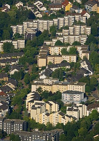 Aerial view, tower blocks, rental apartments, Herdecke, Ruhrgebiet area, North Rhine-Westphalia, Germany, Europe