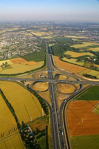 Aerial view, Kamener Kreuz, a cloverleaf interchange, motorway junction, A1 motorway, A2 motorway, Hansalinie motorway, Kamen, Ruhrgebiet area, North Rhine-Westphalia, Germany, Europe