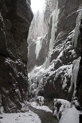 Icicles and snow at the natural landmark Partnach Klamm Gorge, valley, Garmisch-Partenkirchen, Oberbayern region, Upper Bavaria, Bavaria, Germany, Europe