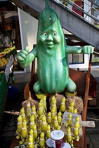 Cucumber figures in the Spreewaldhafen, harbour of Luebbenau, Spreewald, Spree Forest, Brandenburg, Germany, Europe