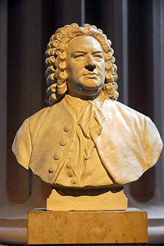 Bust in the Nikolaikirche church, monument of Johann Sebastian Bach, Leipzig, Saxony, Germany, Europe